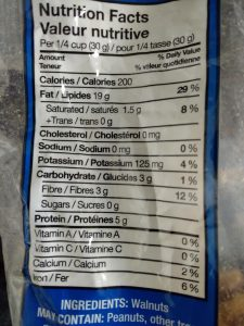 Walnuts Nutrition Facts table